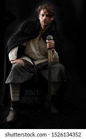 Dark-haired Viking or medieval man