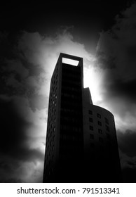 Darkly lit city tower block with added dark edges for effect.