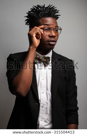 aebf29cf091 Darkskinned Man Glasses On Gray Background Stock Photo (Edit Now ...