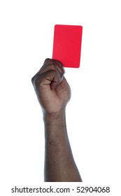 A dark-skinned person holding a red card as a symbol against racism. All on white background.