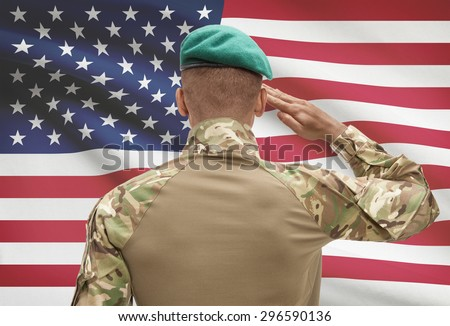 Dark-skinned soldier in hat facing national flag series - United States 302984f05af
