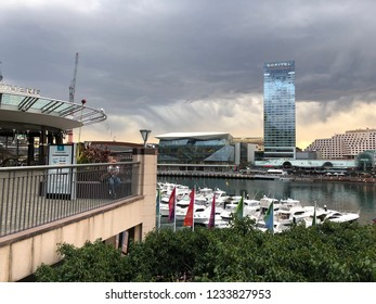 DARLING HARBOUR, SYDNEY, AUSTRALIA - 28 SEPTEMBER 2018 - View of Darling Harbour, with a rapidly moving storm in the background.