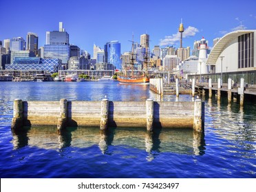 Darling Harbour, Sydney, Australia, on a bright sunny day.