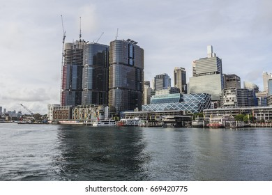 DARLING HARBOUR, SYDNEY,AUSTRALIA-19th APRIL 2016:-Darling harbour is a major tourist attraction affording excellent views of the city skyline.