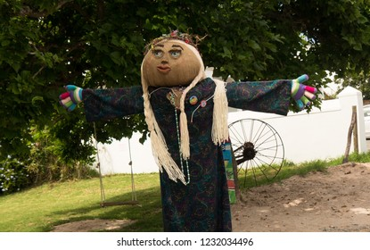 Darling, Western Cape, South Africa. October 30 2018. A pretty scarecrow during the Darling village festival.