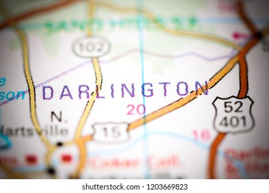 Darlington. Augusta. USA on a map