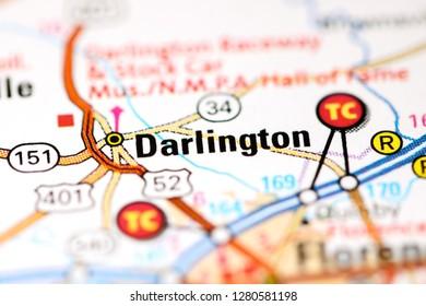 Darlington. Augusta. USA on a map
