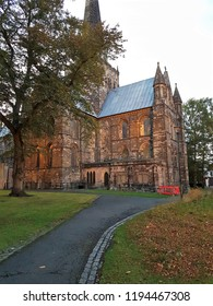 Darlington, County Durham, UK 22.09.2018 - St Cuthbert's Church at dusk