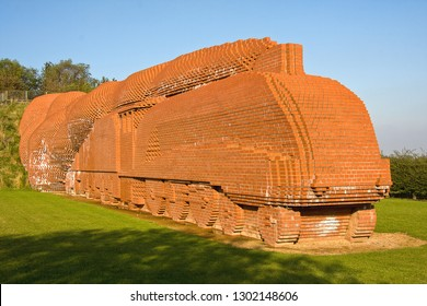 DARLINGTON, COUNTY DURHAM, UK - OCTOBER 8, 2012: Constructed from 185,000 bricks, modelled on the LNER A4 Pacific No. 4468 'Mallard', it includes 20 'bat-bricks' to support these nocturnal creatures.