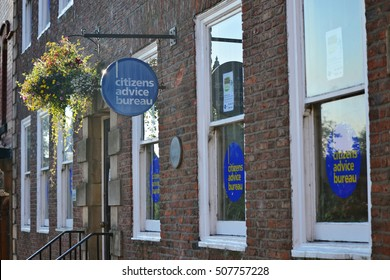 DARLINGTON, ENGLAND - August 23, 2015: Citizens Advice Bureau Darlington, main entry, overlooking the market square. The office is located in Darlington Town Centre.