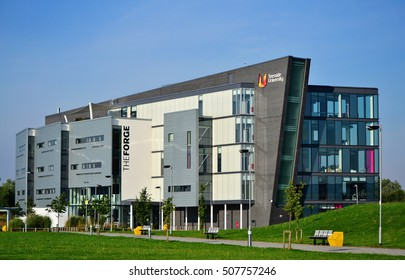 DARLINGTON, ENGLAND - August 23, 2015: Teesside University main building, in the Darlington campus. The image was taken on a sunny morning.