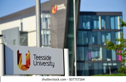 DARLINGTON, ENGLAND - August 23, 2015: Teesside University sign and main building, in the Teesside University campus in Darlington. The image was taken on a sunny morning.