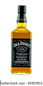 DARLINGTON, ENGLAND - MARCH 4, 2017: Bottle of Jack Daniel's Tennessee Whiskey on white background. Image shot from the front.