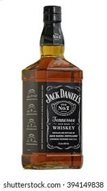 DARLINGTON, ENGLAND - MARCH 6, 2016: Studio shot of a sealed 1 litre bottle of Jack Daniel's old no 7 bourbon whiskey, on white background.