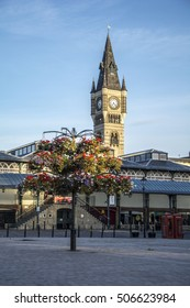 DARLINGTON, ENGLAND - SEPTEMBER 11, 2016: Darlington market hall and clock tower, seen from the market square. The market is situated in Darlington town centre.