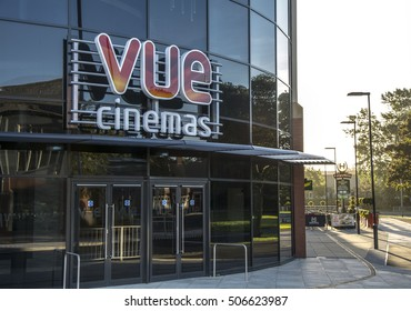 DARLINGTON, ENGLAND - SEPTEMBER 11, 2016: VUE Cinemas sign and entrance, at the Feethams Complex in Darlington. Restaurants can be observed at the side of the building.