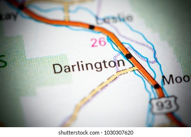 Darlington. Idaho. USA on a map.