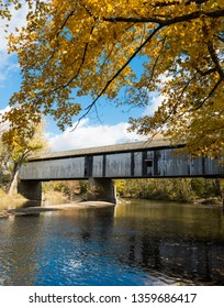 Darlington, Indiana Covered Bridge in Montgomery County, Indiana, built in 1868 and is 166' long. It was built with donations from citizens who needed a bridge over Sugar Creek