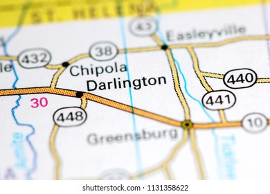 Darlington. Louisiana. USA on a map