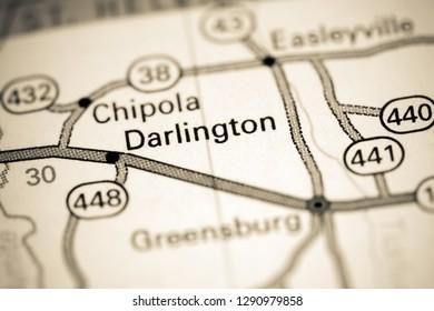 Darlington. Louisiana. USA on a map