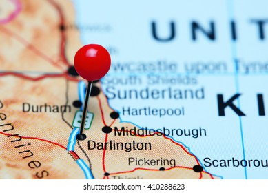 Darlington pinned on a map of UK