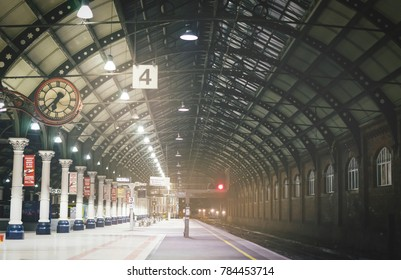 Darlington railway station,United Kingdom, Dec 28, 2017; The empty station platform,Train station without passengers in early morning, Darlington railway station is on the East coast main line in UK