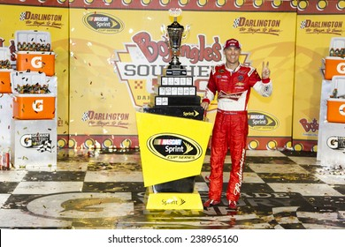 "Darlington, SC - Apr 13, 2014:  Kevin Harvick (4) wins the ""Bojangles' Southern 500"" at Darlington Raceway in Darlington, SC."