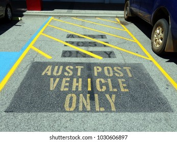 Darlington, Western Australia-Dec 23, 2017:  A reserved parking space for Australian Post Vehicles located outside the Darlington Post Office in Western Australia