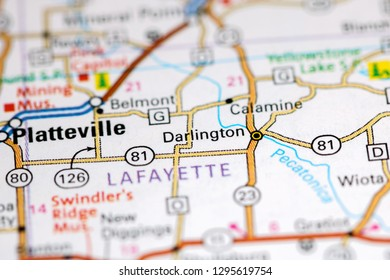 Darlington. Wisconsin. USA on a map