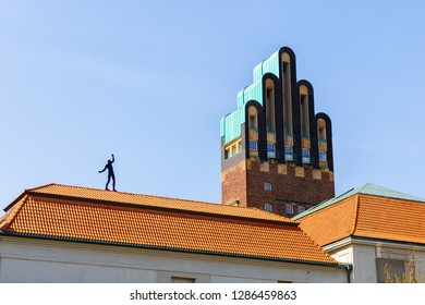 Darmstadt, Germany - April 08, 2018: Wedding Tower on the Mathildenhoehe in Darmstadt. The tower was completed 1908 in art nouveau style, 48.5 meters high