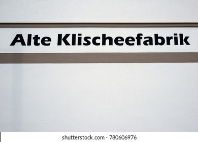 DARMSTADT, GERMANY - DECEMBER 02: The lettering and the logo of the Old cliche factory Darmstadt, an apartment building on December 02, 2017 in Darmstadt