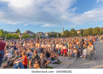 Darmstadt, Germany - June 5, 2019: people enjoy the open air concert by the philharmonic orchestra of the state theater in Darmstadt.