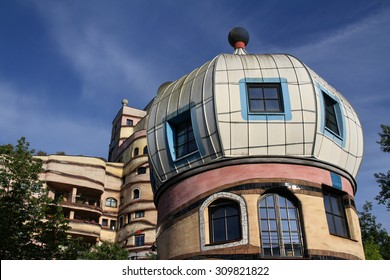 Darmstadt, Germany - May 19, 2015: View of the Forest Spiral, it is a residential building complex in Darmstadt, Germany, built in the 1990s. The name translates into English as forest spiral.