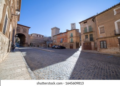 Daroca, Zaragoza province, Aragon,Spain on January 12, 2019. The upper gate.