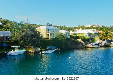 darrell's wharf, warwick parish/bermuda - 2/18/2018: waterfront scenery at darrell's wharf