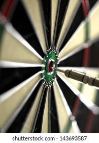 Dart Board with dart in bulls eye