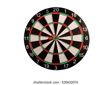 Dart board on a white background closer
