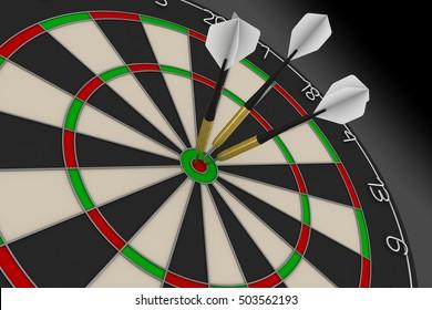 Dart Board with Three White Darts in Bullseye 3D Illustration