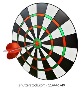 dart in the center of darts as a symbol of success