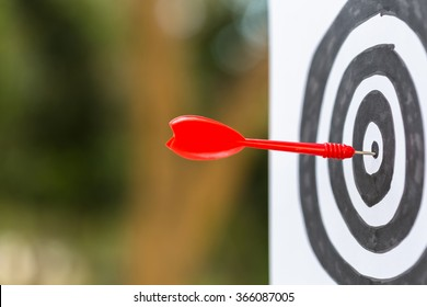 Dart hit the center of drawing target