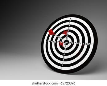 Dart hitting a target. Success in business.