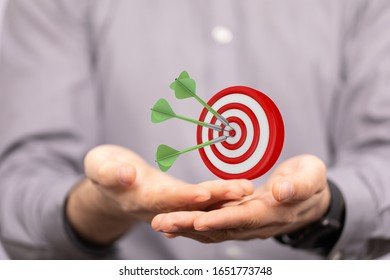 dart target arrow hitting on bullseye which is the ultimate goal that everyone wants - Shutterstock ID 1651773748