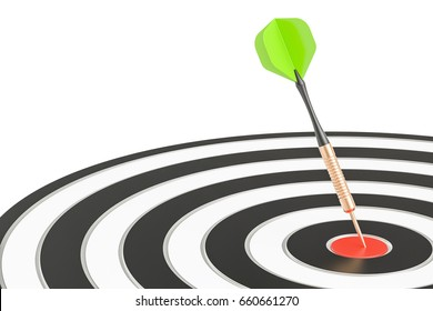 Dart in target, business success and solution concept, 3D rendering