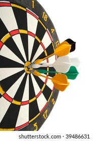 dartboard with darts in aim isoalted on white
