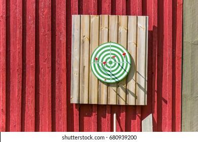 Dartboard on the cabin wall