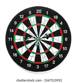 Dartboard for playing darts on white background