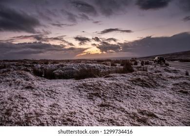 Dartmoor, Devon, UK, January 30, 2019 - Snow fallen in the countryside town of Princetown situated on Dartmoor, Devon.