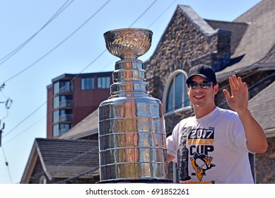 DARTMOUTH, CANADA - AUG 7, 2017:  Cole Harbour native Sidney Crosby, captain of the of the Stanley Cup champion Pittsburgh Penguins with the Cup as the grand marshal for the 122nd Natal Day Parade.