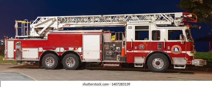 Dartmouth, Canada - August 16, 2015: A Quint 13 Halifax Regional Fire And Emergency truck at Alderney Landing. The Halifax Fire Service is the oldest fire department in Canada.