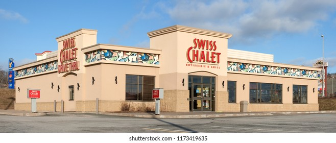 DARTMOUTH, CANADA - JANUARY 21, 2015: Swiss Chalet is a Canadian owned restaurant chain. Swiss Chalet is part of Cara Operations which also owns Harvey's.